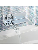 Mediterranean Retro Centerset Waterfall with  Ceramic Valve Single Handle Two Holes for  Chrome , Bathroom Sink Faucet
