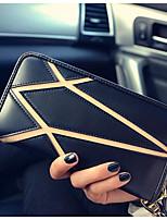 Women Checkbook Wallet PU All Seasons Casual Rectangle Zipper Brown black Black