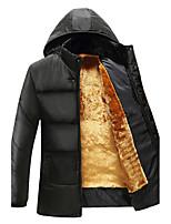 Пальто Простое На подкладке Для мужчин,Однотонный На каждый день Большие размеры Нейлон Полиэстер Полипропилен,Длинный рукав