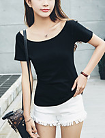 Women's Casual/Daily Simple Summer Slim T-shirt Solid Boat Neck Short Sleeve Preppy Chic Cotton Thin