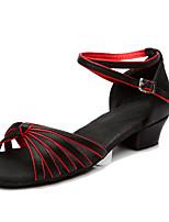 Damen Latin Seide Sneakers Anfänger Kubanischer Absatz Schwarz/Rot Unter 2,5 cm Maßfertigung