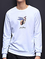 Men's Casual/Daily Simple Sweatshirt Print Round Neck Inelastic Others Long Sleeve Spring