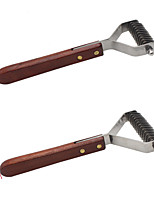 Dog Grooming Comb Double-Sided Brown