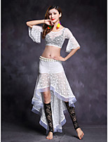 Belly Dance Outfits Women's Performance Lace 2 Pieces Half Sleeve Natural Top / Skirts