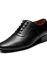 Men's Latin Indoor Real Leather Heels Professional Black