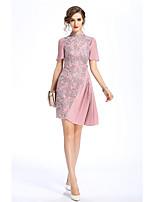 Для женщин На выход На каждый день Винтаж Шинуазери (китайский стиль) Оболочка Платье Вышивка,Воротник-стойка АссиметричноеС короткими