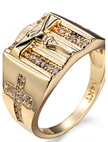 Ring Women's Euramerican Luxury Classic Gold Cross Rhinestone Zircon Ring Daily Chrismas Party Gift Movie Jewelry