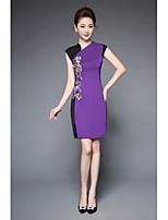 YBKCP(105A120Women's Party Plus Size Work Sheath DressEmbroidery Asymmetrical Knee-length Short Sleeve Terylene Spring Summer Mid Rise Micro-elastic