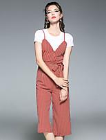 Manches Ajustées Pantalon Costumes Femme,Rayé Formel Décontracté / Quotidien Moderne Moderne/Contemporain Eté Manches Courtes Col Arrondi