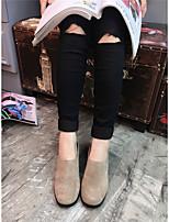 Women's Boots Comfort PU Spring Casual Black Khaki Flat