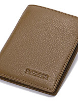 Men Money Clip Cowhide All Seasons Casual Square Fold-over Clasp Khaki