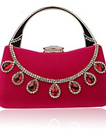 Women Evening Bag Polyester All Seasons Wedding Event/Party Formal Minaudiere Rhinestone Clasp Lock Fuchsia Almond Red Black Blue