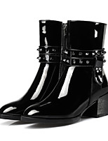Women's Boots Club Shoes Patent Leather Fall Winter Dress Casual Walking Combat Boots Rivet Zipper Chunky Heel Black 2in-2 3/4in