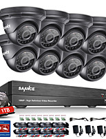 Sannce® 8ch cctv система безопасности 1080p ahd / tvi / cvi / cvbs / ip 5-in-1 dvr с камерами 8pcs 2.0mp 1tb hdd