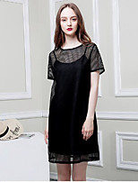 Women's Going out Casual/Daily Simple Summer Blouse Skirt Suits,Solid Round Neck Short Sleeve Inelastic