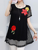 Women's Casual Going out Casual/Daily Work Vintage Simple Chinoiserie Summer T-shirt,Floral Round Neck Short Sleeve Others
