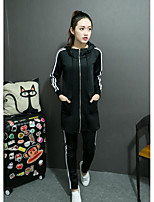 Women's Casual/Daily Simple Winter Hoodie Pant Suits,Solid Stripe Stand Long Sleeve