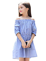 Girl's Stripes Dress,Cotton Summer Half Sleeve