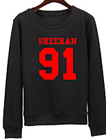 Women's Going out Sweatshirt Solid Letter Round Neck Micro-elastic Polyester Long Sleeve Spring Fall