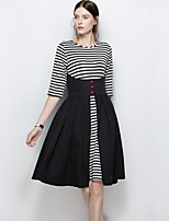 Women's Party Plus Size Beach Holiday Going out Casual/Daily Work Sexy Vintage Simple A Line Loose Dress,Lines / Waves Jewel Knee-length