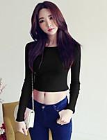 Tee-shirt Femme,Couleur Pleine Sortie Décontracté / Quotidien simple Mignon Printemps Automne Manches Longues Col Arrondi PolyesterOpaque