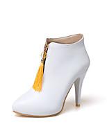 Damen Stiefel Komfort Kunstleder Herbst Winter Normal Kleid Walking Komfort Schnalle Stöckelabsatz Weiß Schwarz Gelb Pfirsich 10 - 12 cm