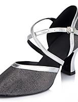 Femme Latines Paillette Sandales Spectacle Entrecroisé Talon Aiguille Argent / noir Chair 7,6 à 9,5cm Personnalisables