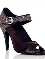 Для женщин Танцевальные кроссовки Натуральная кожа Полиуретан Сандалии Кроссовки Для закрытой площадки На толстом каблукеЧерный Лиловый