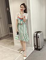 Damen Solide Gestreift Freizeit Alltag Normal T-Shirt-Ärmel Kleid Anzüge,Rundhalsausschnitt Sommer Kurzarm Mikro-elastisch
