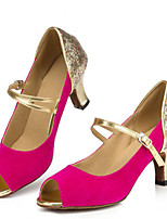 Women's Latin Fleece Sandals Performance Buckle Stiletto Heel Fuchsia 3