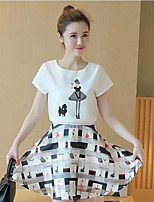 Women's Other Casual Simple Summer Shirt Skirt Suits,Geometric Round Neck Short Sleeve