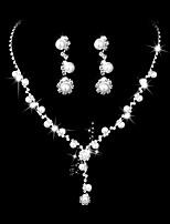 Mulheres Brincos Compridos Gargantilhas Sets nupcial Jóias Gema Zircônia cúbica Moda Elegant Zircônia Cubica Strass Formato de Flor Para