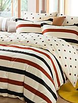 Toile 4 Piece Cotton Cotton 1pc Duvet Cover 2pcs Shams 1pc Flat Sheet