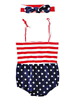 Baby Stripe Print One-PiecesCotton Blends Summer Sleeveless Striped Stars Harness Baby Boys Girls Romper Jumpsuits with Headband