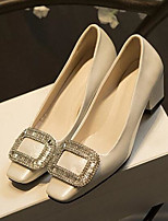 Women's Heels Comfort PU Spring Wedding Casual Comfort Almond Blushing Pink Ruby Black White 2in-2 3/4in