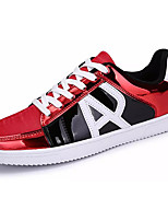Men's Sneakers Comfort Spring Fall PU Casual Lace-up Flat Heel Silver/Black Black/Red White/Blue Flat