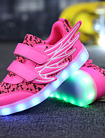 Girls' Sneakers Comfort Novelty Light Up Shoes Breathable Mesh Microfibre Spring Fall Casual Outdoor Track & Field LED Flat HeelWhite