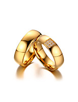 2PCS Couple's  Rings Simple  Elegant AAA Cubic Zirconia  Titanium Steel 18K gold Ring Jewelry For Wedding Anniversary Party