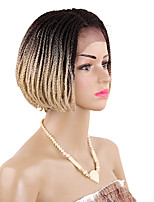 6inch Short Synthetic Lace Front Wig Ombre Burgundy Box Braids Hair