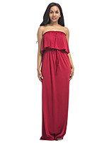 Women's Solid Strapless Party Plus Size Beach Sexy Boho Sheath Ruffle Side High Rise Sleeveless Maxi Dress