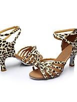 Women's Latin Silk Sandals Indoor Customized Heel Leopard Customizable