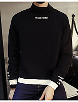 Men's Casual/Daily Sweatshirt Solid Letter Turtleneck Micro-elastic Cotton Long Sleeve Fall