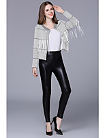Women's Going out Casual/Daily Work Sophisticated Short Cardigan,Plaid/Check Round Neck Long Sleeve Faux Fur Winter Thick Stretchy