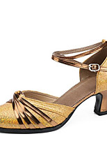 Women's Dance Shoes Sandals Latin Leatherette Chunky Heel Outdoor Gold/Silver