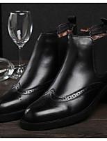 Men's Boots Comfort Cowhide Winter Casual Comfort Chunky Heel Black Brown 1in-1 3/4in