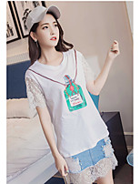 Women's Going out Casual Summer T-shirt Skirt Suits,Solid Floral Round Neck ½ Length Sleeve Lace strenchy