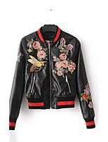 Для женщин Спорт На выход Осень Зима Кожаные куртки Воротник-стойка,Простой Уличный стиль Панк & Готика Однотонный Полоски ОбычнаяДлинный