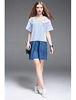Damen Gestreift Boho Lässig/Alltäglich T-shirt,Rundhalsausschnitt Kurzarm Baumwolle