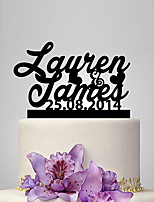Personalized Acrylic Name And Date Wedding Cake Topper