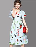 Women's Going out Cute Sheath Dress,Print V Neck Midi Short Sleeves Cotton Summer Mid Rise Micro-elastic Medium